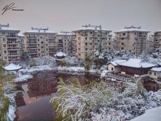 The view from our apartment during a typical winter in the Chinese city of HangZhou.