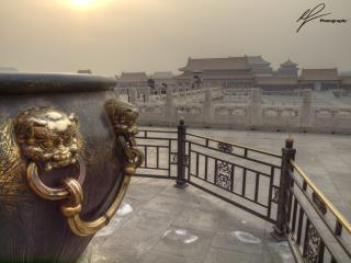 A tightly framed view of the inside of the Forbidden City in Beijing, focusing on an old water container, used to put out fires in emergency situations.