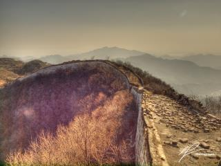 One of the marvels of the world, the Great Wall of China, unrestored section as seen from near the Mutianyi section of the wall, north of Beijing.