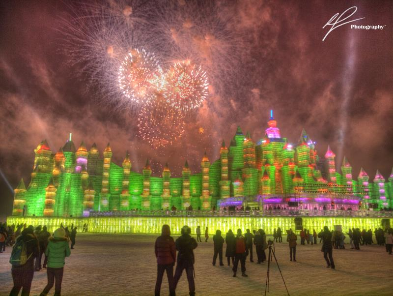 It has become an annual tradition for the residents in the far north of China to create ice sculptures on a grand scale.  This shot is from opening night of the ice festival in Harbin, China in 2011.