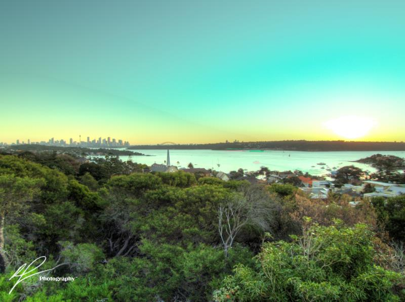A wider view of the sunset west from the Vaucluse headland.