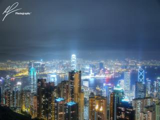 A long exposure night shot of the lights of Hong Kong taken from near the peak on Mount Victoria.