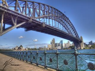 From near Luna Park in North Sydney, you are offered a great view of both the Opera House in the distance and the Harbour Bridge looming above.