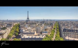 A cropped panorama from the top of the Arc de Triumph in Paris, France.